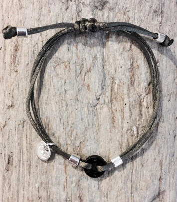 "Bracelet ""BLACK SINGLE ROUNDJEWEL"""