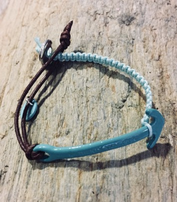 "Leather/macramé bracelet ""TURQUOISE ANCHOR"""
