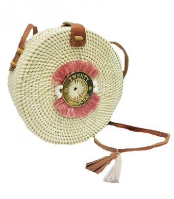 Wicker bag PINK CROWN WHITE SAKU BULAT