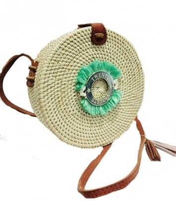 Wicker bag TURQUOISE CROWN WHITE SAKU BULAT