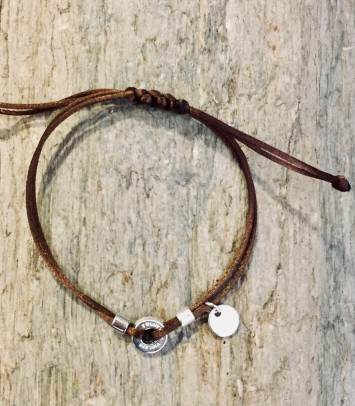 "Bracelet ""BROWN/SILVER SINGLE ROUNDJEWEL """