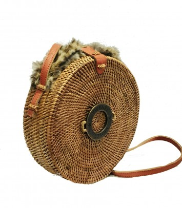 Wicker bag SAKUBULAT NATURAL LEOPARDO