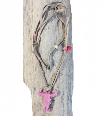 "Necklace ""BIG BOEUF PINK IN LEATHER"""
