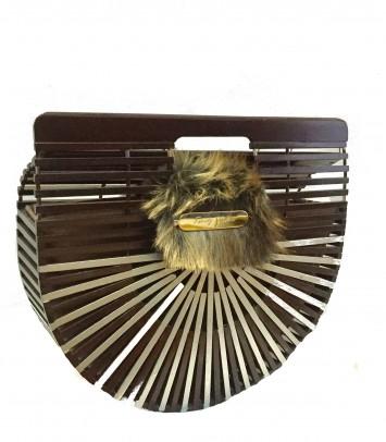 Bolso de bambú SPECIAL MARRÓN Y PLATA