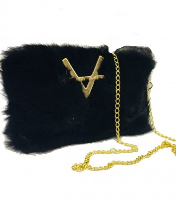 "Leather Clutch/Bag Black ""BAMSE"""