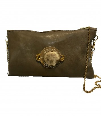 "Leather Clutch/Bag ""CARLOTTA BROWN"""