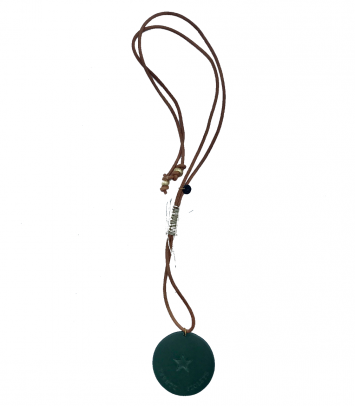 Necklace NATURAL LEATHER and T&V MEDAILLON